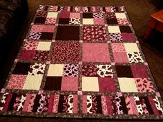 Country Cowgirl Western Quilt by LannersQuilts. Great use of different sized blocks and coordinating prints.