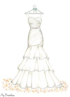 Dreamlines Wedding Dress Sketch #oneyearanniversarygift #anniversarygift #weddinggift www.MyDreamlines.com