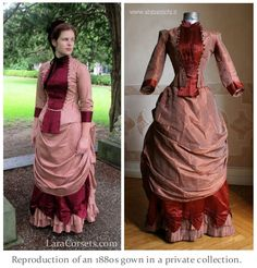 Reproduction 1880s gown by LaraCorsets (original antique is on the right)