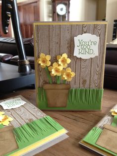 handmade card ... dimensional paper Daffodils in a pot... like the wood grain fence background ;;; sweet layout ... Stampin'Up!