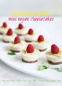 RASPBERRY LEMON MINI VEGAN CHEESECAKES : RAW, GLUTEN-FREE, PALEO, SUGAR-FREE