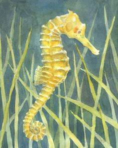 Watercolor Seahorse Card by christinemoserart on Etsy, $3.00