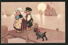 Künstler-AK E.Colombo: Hund beobachtet Junge und Mädchen am Kai 0