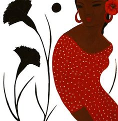 DIADIA,illustration flamenco,dance, red