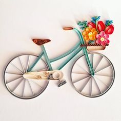Origami And Quilling, Quilling Cards, Paper Quilling, Guitar Wall Art, Name Wall Art, Baby Room Art, Quilling Techniques, Paper Artwork, Bicycle