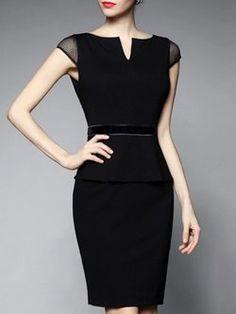 Short Sleeve Cotton-blend V Neck Paneled Elegant Mini Dress