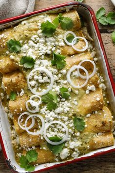 NYT Cooking: This authentic Mexican recipe came to The Times in 2002 by way of Amanda Hesser. She picked it up from Jemima (pronounced heh-MEE-muh), a woman who cooked for Amanda's family while they were on vacation in Mexico. It is a simply prepared casserole of shredded chicken rolled in corn tortillas underneath a mild, seed-speckled tomatillo sauce. Crumbled queso añejo, a sharp wh...