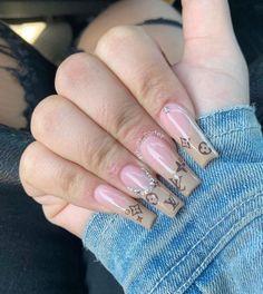 Classy Acrylic Nails, Acrylic Nails Coffin Pink, Edgy Nails, Square Acrylic Nails, Stylish Nails, Trendy Nails, Swag Nails, Drip Nails, Glow Nails