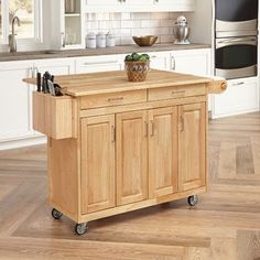 August Grove Epping Kitchen Island with Wood Top