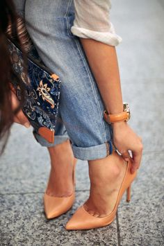 Nude heels and watch band + boyfriend jeans -- office and weekend chic