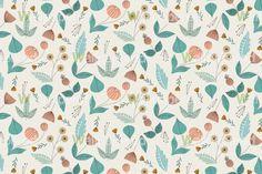 half bath wallpaper 1950s Floral vintage style pattern design
