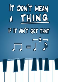 """""""It don't mean a thing if it ain't got that swing!"""" I see what they did there (: gotta love jazz band :D jazz band is life! Music Jokes, Music Humor, Jazz Music, My Music, Band Jokes, Band Nerd, Jazz Band, Music Education, Music Stuff"""