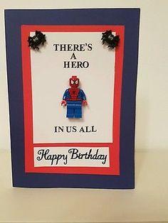 handmade Spiderman lego greeting card