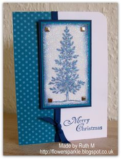 Flower Sparkle: Sparkly Tree Merry Christmas Card - 52 CCT Glitter Embellishment Challenge