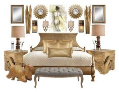 """""""Golden Haven"""" by bcurryrice on Polyvore featuring Jayson Home, CB2, Hooker Furniture, J. Queen New York, Uttermost, Universal Lighting and Decor, Leftbank Art, Kenroy Home, Philips and Riedel"""