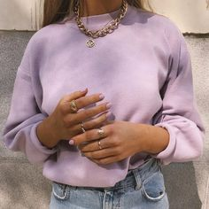 Well, life is just boring when we don't have an online order to look forward to. 👀 We're totally crushin' on this look from our babe - she is wearing our True For You jumper in lilac! Aesthetic Fashion, Aesthetic Clothes, Look Fashion, Classy Fashion, Cute Casual Outfits, Retro Outfits, Vintage Outfits, Hipster Outfits, Cooler Style