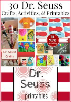Seuss kids crafts, Activities, and Free Printables to help celebrate National Read Across America Day or Dr. Seuss Day on Dr. Seuss' birthday on March Craft Activities For Kids, Classroom Activities, Book Activities, Crafts For Kids, Kindergarten Classroom, Dr. Seuss, Dr Seuss Week, Dr Seuss Crafts, Read Across America Day