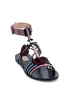 Valentino Loveblade Flat Patent Leather Ankle-Strap Sandals