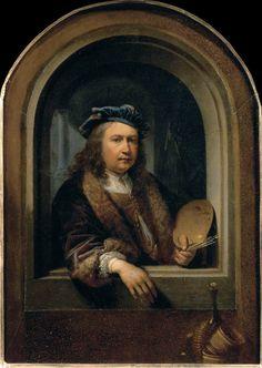 Gerrit Dou: Zelfportret met palet in een nis ca. 1660-1665. Parijs, Museé du Louvre. Dou is hier tussen de 47 en 52 jaar.