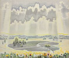 Charles Burchfield (American, 1893-1967), Great Cloud Shadow, 1959. Watercolor and pencil on joined paper laid down on board, 32¾ x 39½ in.
