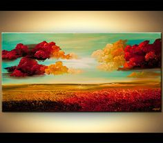 Abstract Contemporary Landscape Acrylic Painting by OsnatFineArt