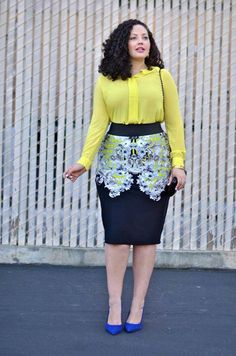 Yellow Chiffon Shirt with a Black,White and Yellow Straight Skirt and Pop of Blue