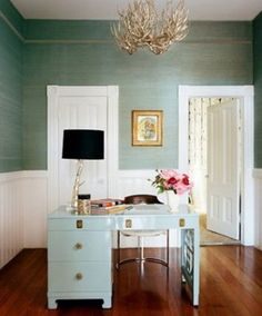 grass cloth wallpaper in aqua turquoise