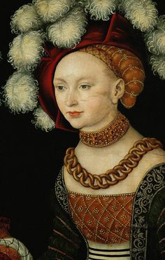the princesses sibylla, emilia, and sidonia of saxony (detail) by Lucas Cranach the Elder