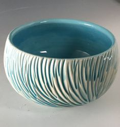 Blue Rain Feather Medium Serving Bowl
