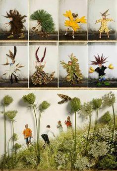 Herbstcollage mit Kindern basteln fotos witzig geschenkidee schneckenhäuser