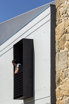 Filipe Pina + Maria Inês Costa Add Concrete Extension To Stone House In Portugal architecture %tag Metal Facade, Architecture Résidentielle, Contemporary Architecture, Cladding Design, Modern Small House Design, Modern Balcony, Old Stone Houses, Archi Design, Spanish House