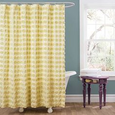 Emma Yellow Shower Curtain Lush Decor Shower Curtains Bath Accessories Bath