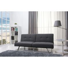 Modern sofa bed upholstered with durable premium fabric with detailed stitching. Flexibility allows folding sofa into a square ottoman. Once fold its small enough to be transported with a small passenger car.