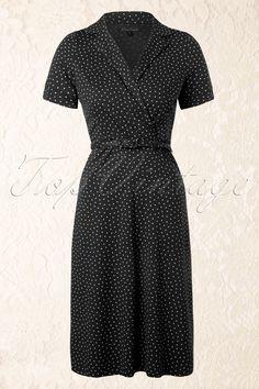 King Louie - 40s Polo Cross Little Dots Dress in Black