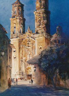 "Robert Wade     ""Santa Prisca Cathedral Taxco Mexico"" 1982 19""x14"""