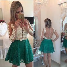 Dark Green Cocktail Dresses Short Designer Lace Appliques Above Knee Beaded Sheer Full Sleeves Vestido De Noiva Curto Backless