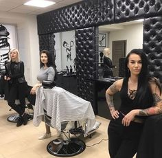 Welcome to our salon sissy. Your mistress said full makeover. Mobile Hair Salon, Mobile Beauty Salon, Salon Pictures, Clothes Pictures, Barbershop Design, Barbershop Ideas, Vintage Hairstyles, Cool Hairstyles, Barber Logo