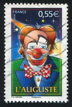 FRANCE - CIRCA 2008: stamp printed by France, shows Clown - Auguste, circa 2008 Stock Photo