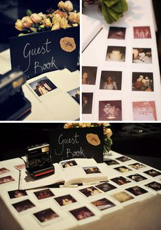 polaroid camera, guests could take a picture of themselves (or get someone else too if they didn't want the MySpace like selfie)  and then glued it into a book and wrote their message beside it. This is great as years later you will be able to put a face to the name.