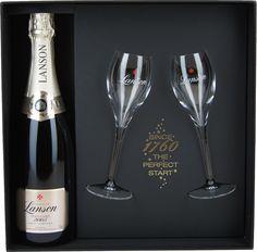 Geschenkdoos Lanson Vintage 2005 + 2 glazen | Dewit Wijnen