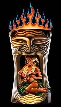 Betty and the Beast - Rick Rietveld Tiki Bar, Tiki Décor, Tiki Mug, Tiki Art! Tiki Tattoo, Hawaiian Art, Hawaiian Tattoo, Hawaiian Girls, Tiki Maske, Tiki Art, Tiki Tiki, Tiki Head, Tiki Decor