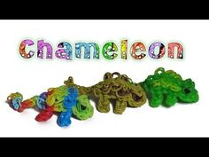 Rainbow Loom Chameleon charm/Figure - How to - Animal Series. Made the rainbow one. Modified the tail by using capped bands foe the extension so it curls by itself. Rainbow Loom Tutorials, Rainbow Loom Patterns, Rainbow Loom Creations, Rainbow Loom Bands, Rainbow Loom Charms, Rainbow Loom Bracelets, Rainbow Loom Characters, Loom Band Animals, Rainbow Loom Animals