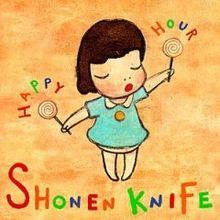 The cover of Japanese rock group Shonen Knife's 1998 album Happy Hour, designed by Yoshimoto Nara.