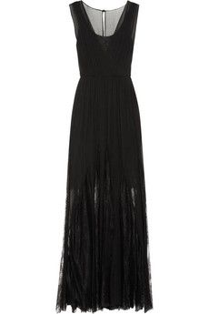 Alice + Olivia Sami pleated silk-chiffon and lace maxi dress | NET-A-PORTER