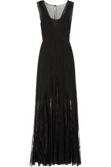 Alice + Olivia Sami pleated silk-chiffon and lace maxi dress | NET-A-PORTER