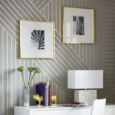 DIY Metallic Linear Wallpaper/Wall Treatment How-to Tutorial using Modern Masters Silver Metallic Paint | Project via CB2 magazine