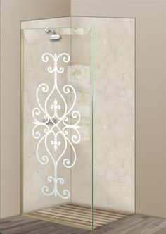 Shower Divider Panel featuring the Cordoba design in the 1D Positive Clear effect by Sans Soucie Art Glass. Design elements are sandblast etched on the top surface of smooth, clear glass, and are solid white shapes.  This effect is considered semi-private, as the clear glass background area of the glass, will vary by design.