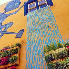 The waterfall mural at Choice Superfood Bar & Juicery in Carlsbad Village, California - the text art says.... http://on.fb.me/1kU2XA3
