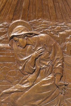 Annunciation relief by Eugene Daub, detail of bronze doors at St. Mary Church in Hudson, Ohio