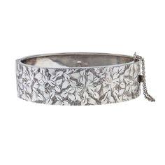 Victorian Sterling Silver Hinged Bangle with Floral Engraving Vine Design, Leaf Design, Birmingham Jewellery Quarter, Ivy Leaf, Silver Bangle Bracelets, Hand Engraving, Antique Silver, Period, Safety